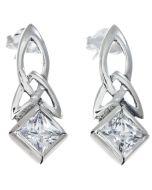 Sterling Silver Celtic Dangling Clear Stone Earrings