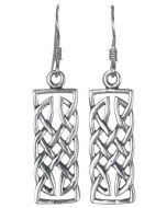 Sterling Silver Celtic Knot Weave Rectangle Bar Drop Earrings