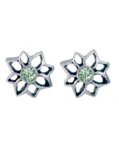Birthstone Flower Stud Earring - August in Silver