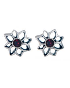 Sterling Silver Birthstone Flower Stud Earring - January