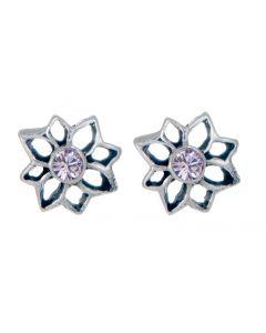 Sterling Silver Birthstone Flower Stud Earring - June