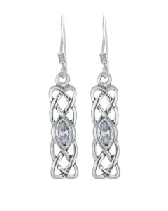 April Birthstone  Silver Earring