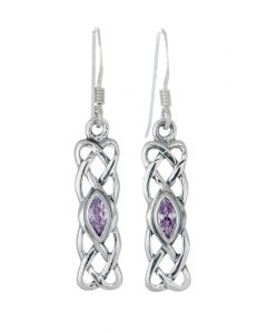 Sterling Silver Celtic Knotwork Birthstone Earring - June