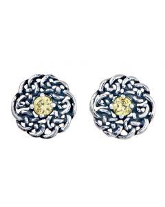 November  Birthstone Stud Earring - Celtic design