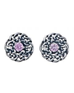 October Sterling Silver Celtic Birthstone Stud Earring