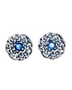 September Birthstone Sterling Silver Celtic Stud Earring