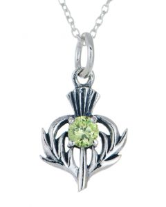 Sterling Silver Celtic Thistle August Birthstone Pendant Necklace