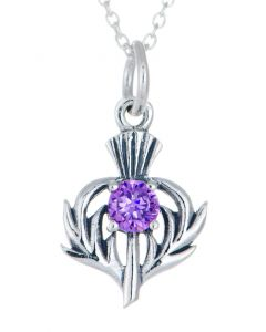 Sterling Silver Celtic Thistle February Birthstone Pendant Necklace