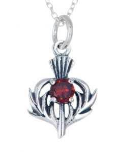 Sterling Silver Celtic Thistle January Birthstone Pendant Necklace