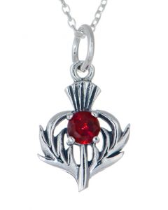 Sterling Silver Celtic Thistle July Birthstone Pendant Necklace