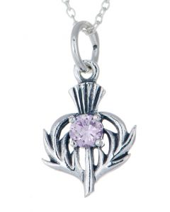 Sterling Silver Celtic Thistle June Birthstone Pendant Necklace