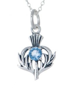 Sterling Silver Celtic Thistle March Birthstone Pendant Necklace