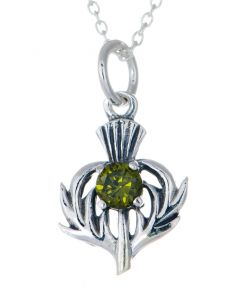 Sterling Silver Celtic Thistle May Birthstone Pendant Necklace