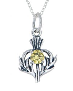 Sterling Silver Celtic Thistle November Birthstone Pendant Necklace