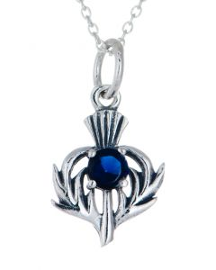 September Thistle  Birthstone  Necklace Sterling Silver