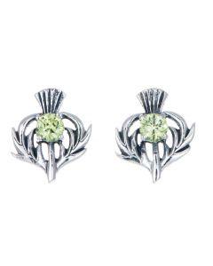 Sterling Silver Thistle August Birthstone Stud Earrings
