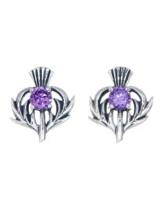 Sterling Silver Thistle February Birthstone Stud Earrings