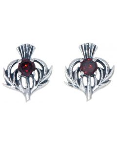 January Birthstone Thistle Stud Earrings in 925 Silver