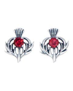 Sterling Silver Thistle July Birthstone Stud Earrings