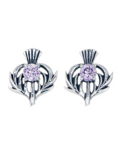Sterling Silver Thistle June Birthstone Stud Earrings