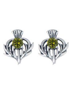 Sterling Silver Thistle May Birthstone Stud Earrings