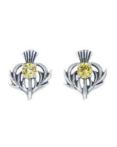 Sterling Silver Thistle November Birthstone Stud Earrings