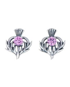 Sterling Silver Thistle October Birthstone Stud Earrings