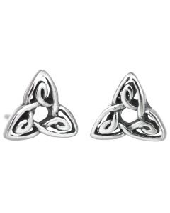 Sterling Silver Triquetra Trinity Knot Celtic Stud Earrings
