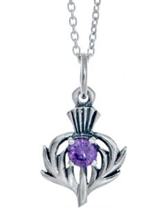 North Coast 500 Official Merchandise , Sterling Silver Scottish Thistle Stone Necklace Souvenir