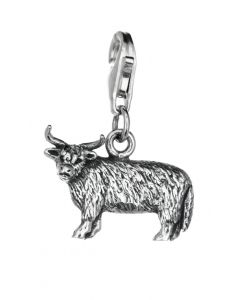 Sterling Silver Highland Cow Clip On Charm