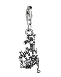 Sterling Silver Bagpipes Clip On Charm