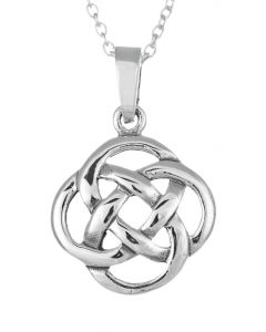 North Coast 500 Souvenir Sterling Silver Round Celtic Knot Pendant Necklace