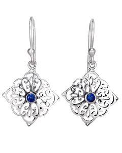 Sterling silver stone filagree stone earrings
