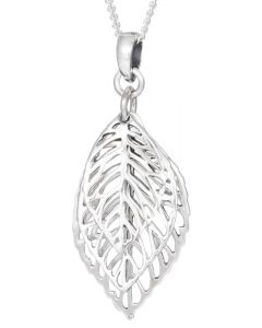 Sterling Silver Triple Leaf Cut Out Necklace