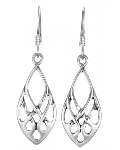 Sterling Silver Patterned Teardrop Shaped Drop Earrings