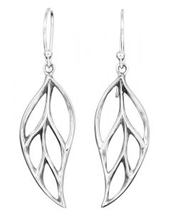 Sterling Silver Leaf Large Cut Out Drop Earrings