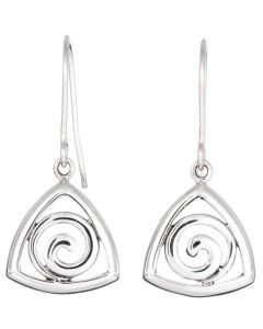 Sterling Silver Triangle Swirl Drop Earrings