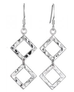 Sterling Silver Double Square Hammered Drop Earrings
