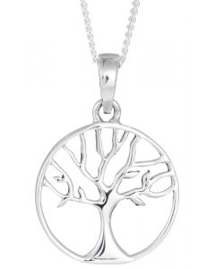 Sterling Silver Small Round Tree Of life Necklace