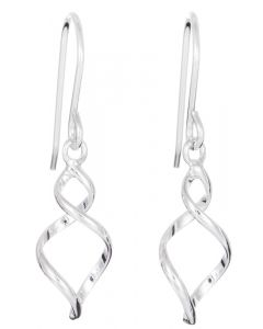 Sterling Silver Swirl Wire Drop Earrings