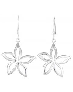 Sterling Silver Open Cut Flower Drop Earrings
