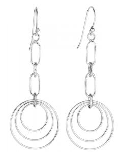 Sterling Silver Circle Hoop Dangling Drop Earrings