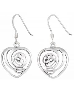 Sterling Silver Love Heart Rennie Mackintosh Drop Earrings