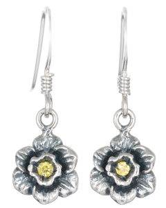 Sterling Silver Daffodil C.Z. Stone Drop Earrings