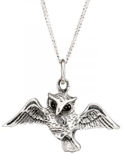 Sterling Silver Flying Owl Necklace
