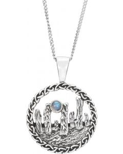 Sterling Silver Standing Stones necklace with Moonstone