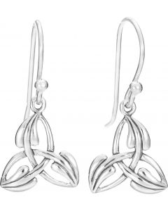 Sterling Silver Trinity Knot Earring with  leaf overlay