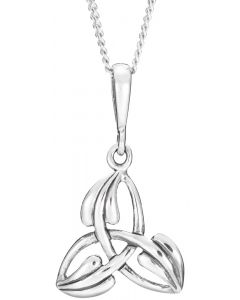 Sterling Silver Trinity Knot designed Necklace with leaf overlay