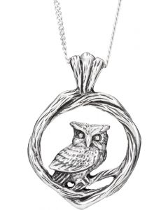 Sterling Silver perched owl on ivy necklace