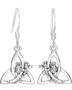Sterling Silver Trinity Knot Earring with  Scottish Thistle overlay